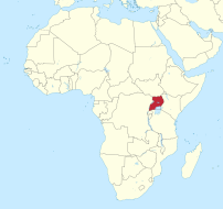 africa map with uganda highlighted